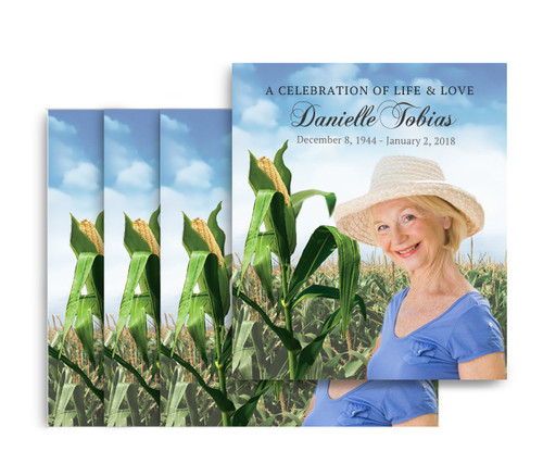 Cornfield No Fold Memorial Card Design & Print (Pack of 25)