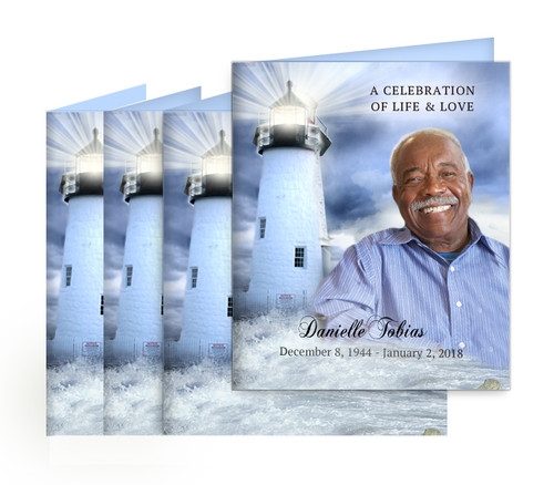 Lighthouse Small Folded Memorial Card Design & Print