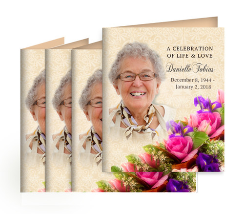 Golden Small Folded Memorial Card Design & Print (Pack of 25)