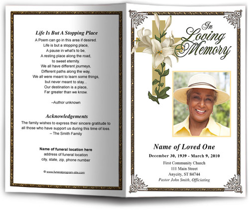 bethany funeral program template