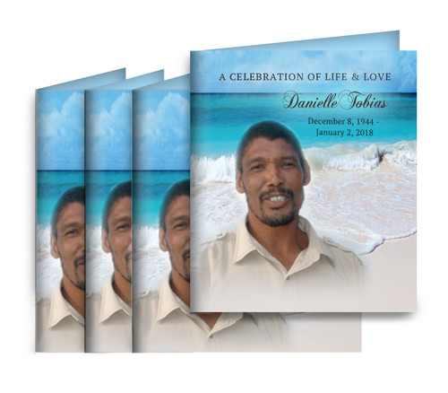 Caribean Small Folded Memorial Card Design & Print (Pack of 25)