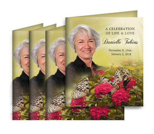Bouquet Small Folded Memorial Card Design & Print (Pack of 25)