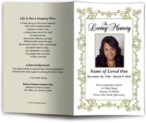green Branches Funeral Program Template