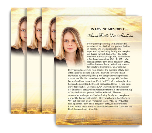 Shine No Fold Funeral Flyer Design & Print (Pack of 25)
