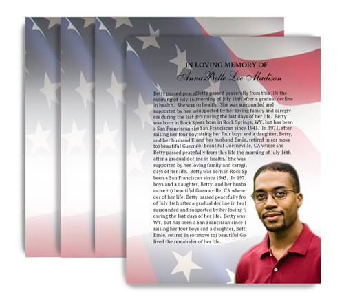 U.S. Flag No Fold Funeral Flyer Design & Print