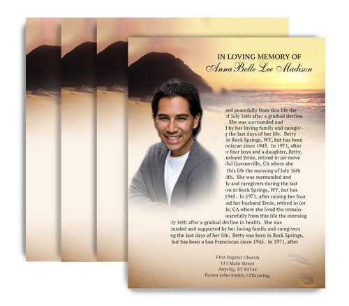 Footprints No Fold Funeral Flyer Design & Print (Pack of 25)