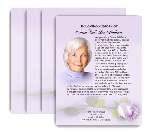 Beloved No Fold Funeral Flyer Design & Print (Pack of 25)