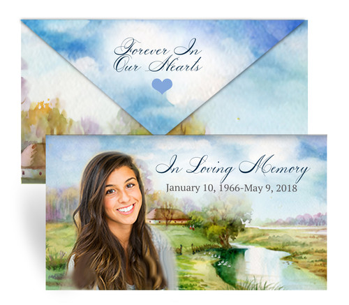 Country Envelope Fold Funeral Program Design & Print (Pack of 25)