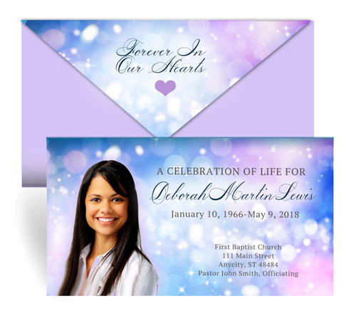 Sparkler Envelope Fold Funeral Program Design & Print (Pack of 25)
