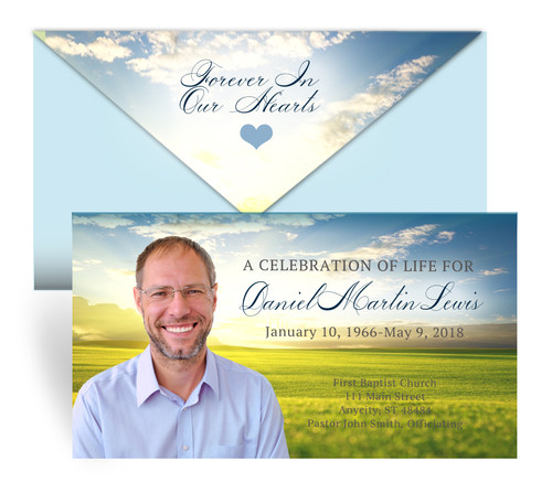 Landscape Envelope Fold Funeral Program Design & Print (Pack of 25)
