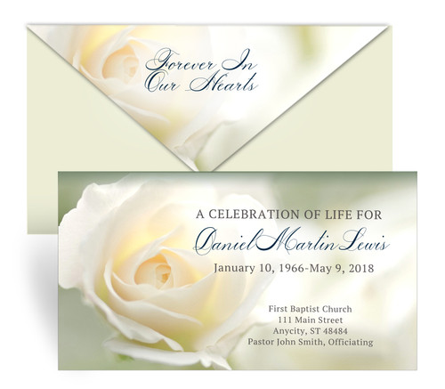 Ivory Roses Envelope Fold Funeral Program Design & Print (Pack of 25)