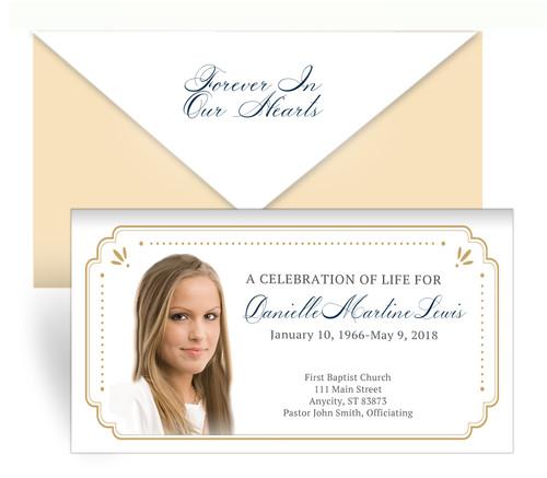Scallop Frame Envelope Fold Funeral Program Design & Print (Pack of 25)