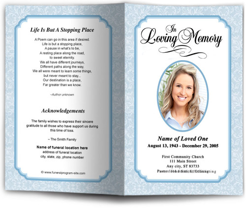 blue Cambria Funeral Program Template