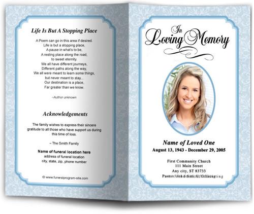 blue Cambria Funeral Program Template