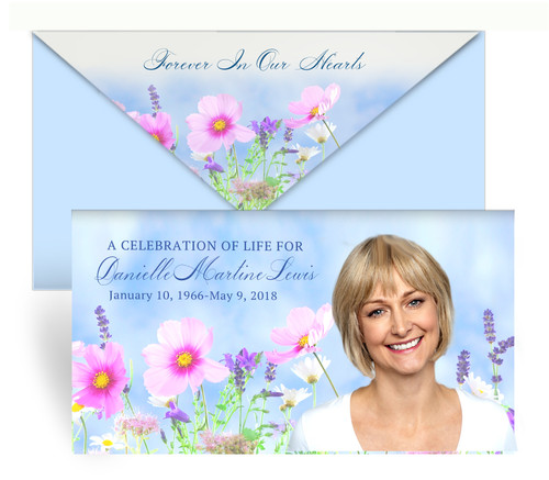 Wildflowers Envelope Fold Funeral Program Design & Print (Pack of 25)