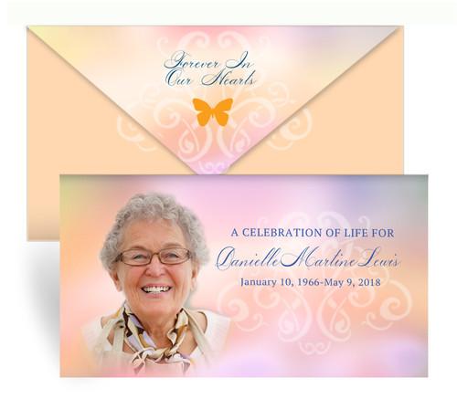 Tangerine Envelope Fold Funeral Program Design & Print