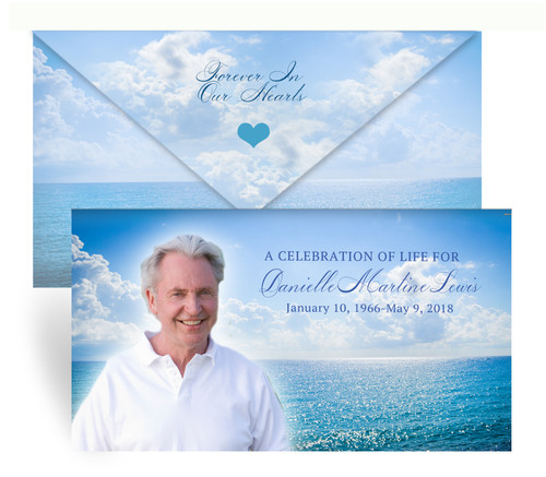 Ocean Breeze Envelope Fold Funeral Program Design & Print (Pack of 25)