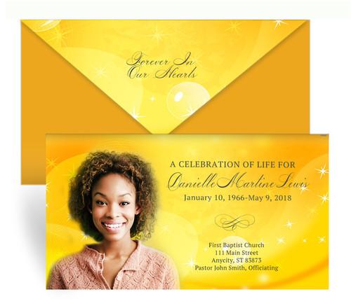 Golden Glow Envelope Fold Funeral Program Design & Print
