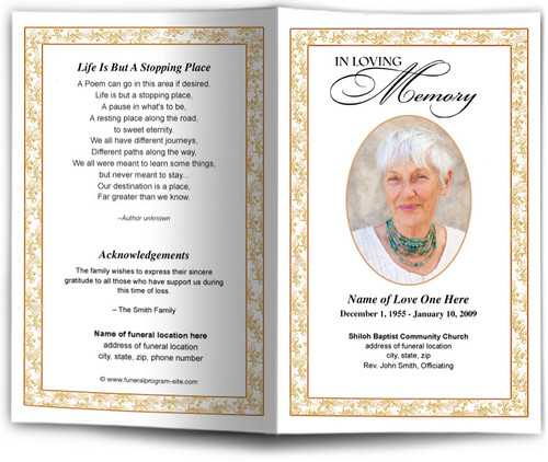 gold Caramel Funeral Program Template