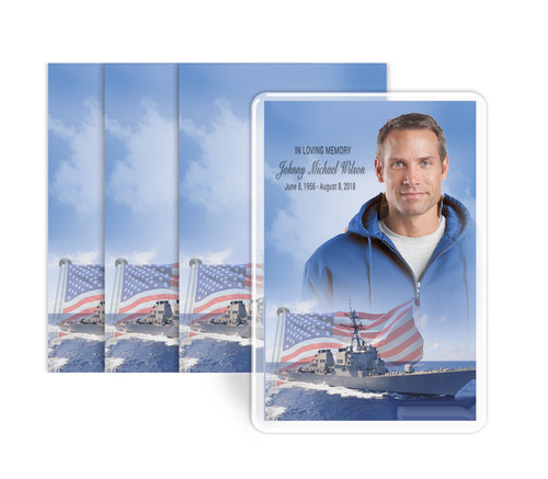 Military Navy Funeral Prayer Card Design & Print (Pack of 25)