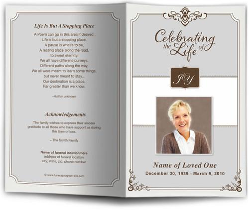 gray Celebrity Funeral Program Template