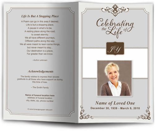 gray Celebrity Funeral Program Template