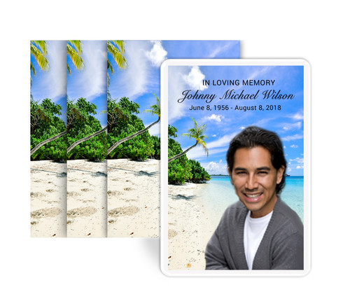 Tropic Beach Funeral Prayer Card Design & Print