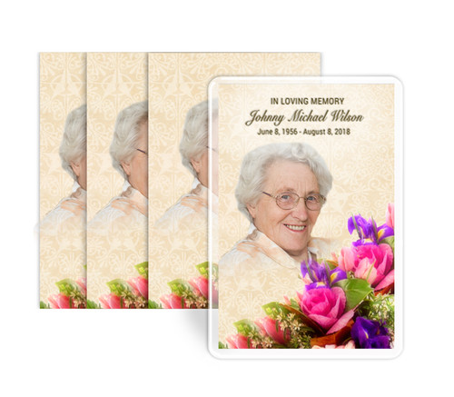 Golden Bouquet Funeral Prayer Card Design & Print