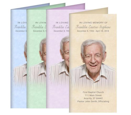Parchment Long Fold Funeral Program Design & Print (Pack of 25)
