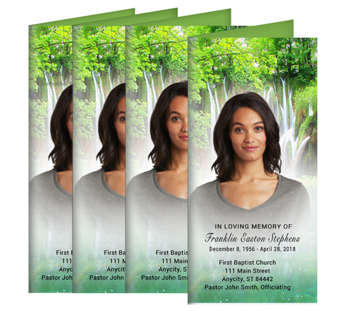 Natural Waters Long Fold Funeral Program Design & Print (Pack of 25)