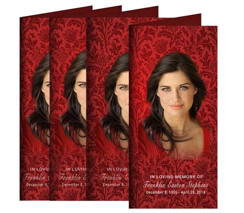 Cranberry Long Fold Funeral Program Design & Print (Pack of 25)