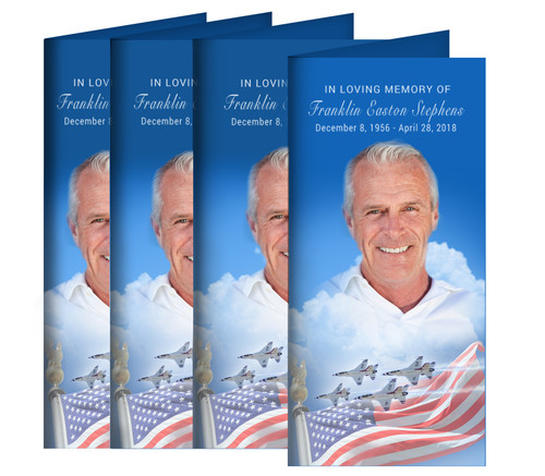 Air Force Long Fold Funeral Program Design & Print (Pack of 25)