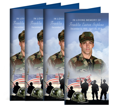 Army Long Fold Funeral Program Design & Print (Pack of 25)