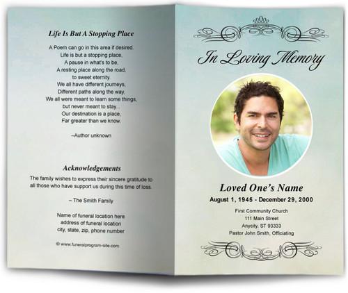 Celestial Funeral Program Template