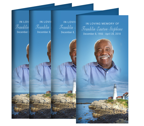 Scenic Lighthouse Long Fold Funeral Program Design & Print (Pack of 25)