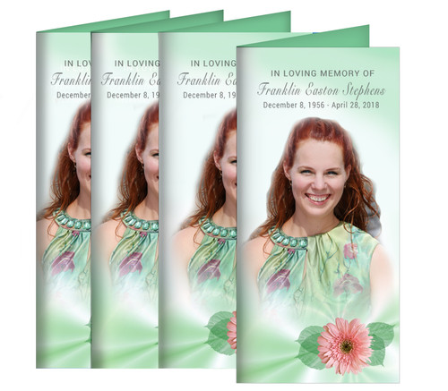 Blossom Long Fold Funeral Program Design & Print (Pack of 25)