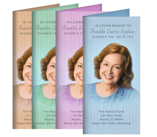 Vertical Stripes Long Fold Funeral Program Design & Print (Pack of 25)