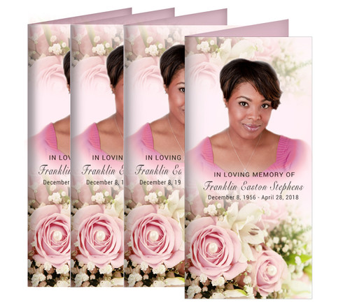 Pink Roses Long Fold Funeral Program Design & Print (Pack of 25)