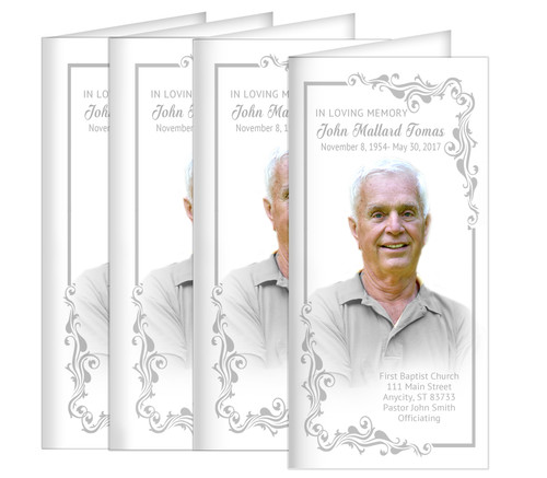 Sterling Long Fold Funeral Program Design & Print (Pack of 25)