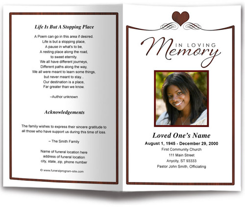 Cherish Funeral Program Template red