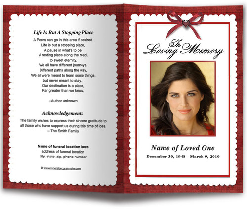 red Crimson Funeral Program Template