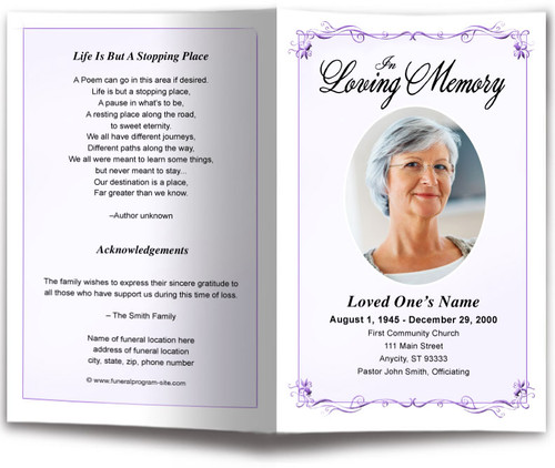 lavender Delicate Funeral Program Template