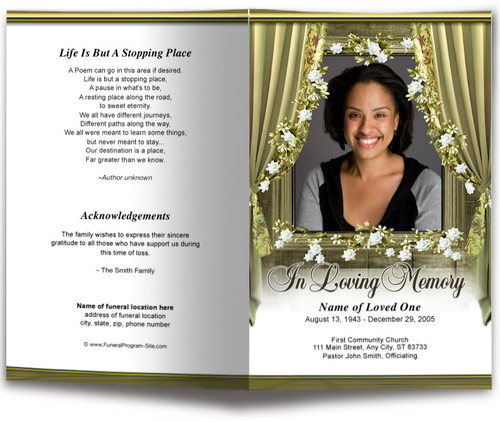 Drape Funeral Program Template