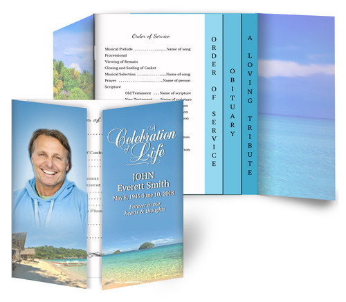 Tropical Gatefold/Graduated Combo Funeral Program Design & Print (Pack of 25)