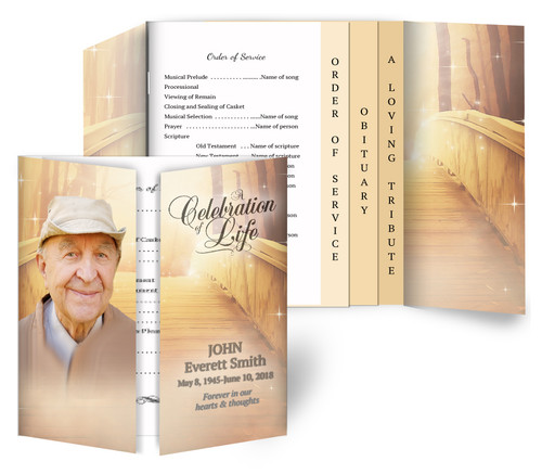 Crossing Gatefold/Graduated Combo Funeral Program Design & Print (Pack of 25)