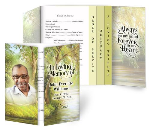 Willow Gatefold/Graduated Combo Funeral Program Design & Print (Pack of 25)