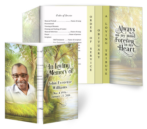 Willow Gatefold/Graduated Combo Funeral Program Design & Print (Pack of 25)
