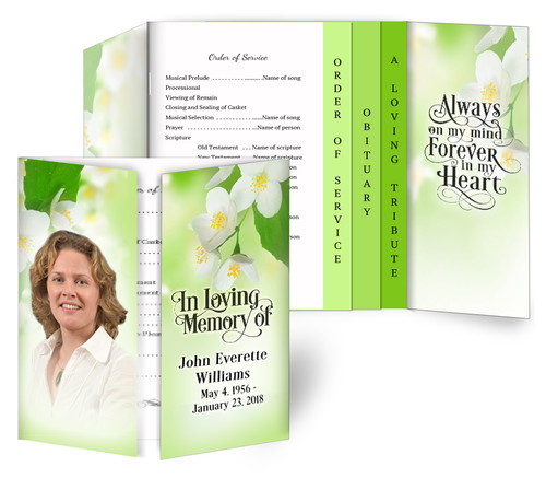 Blossoms Gatefold/Graduated Combo Funeral Program Design & Print (Pack of 25)