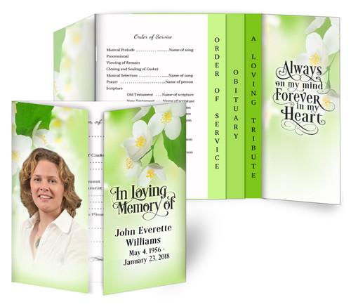 Blossoms Gatefold/Graduated Combo Funeral Program Design & Print (Pack of 25)