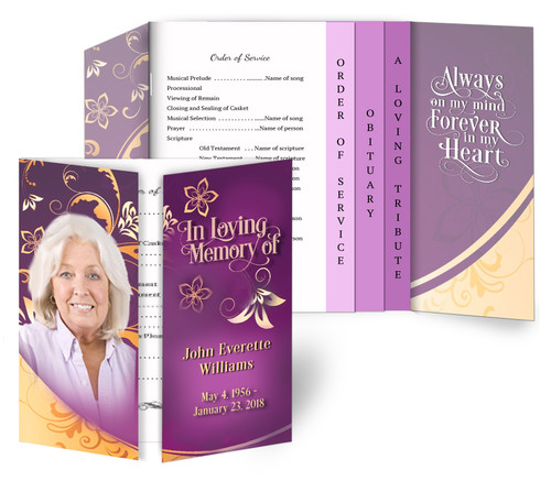 Flourish Gatefold/Graduated Combo Funeral Program Design & Print (Pack of 25)